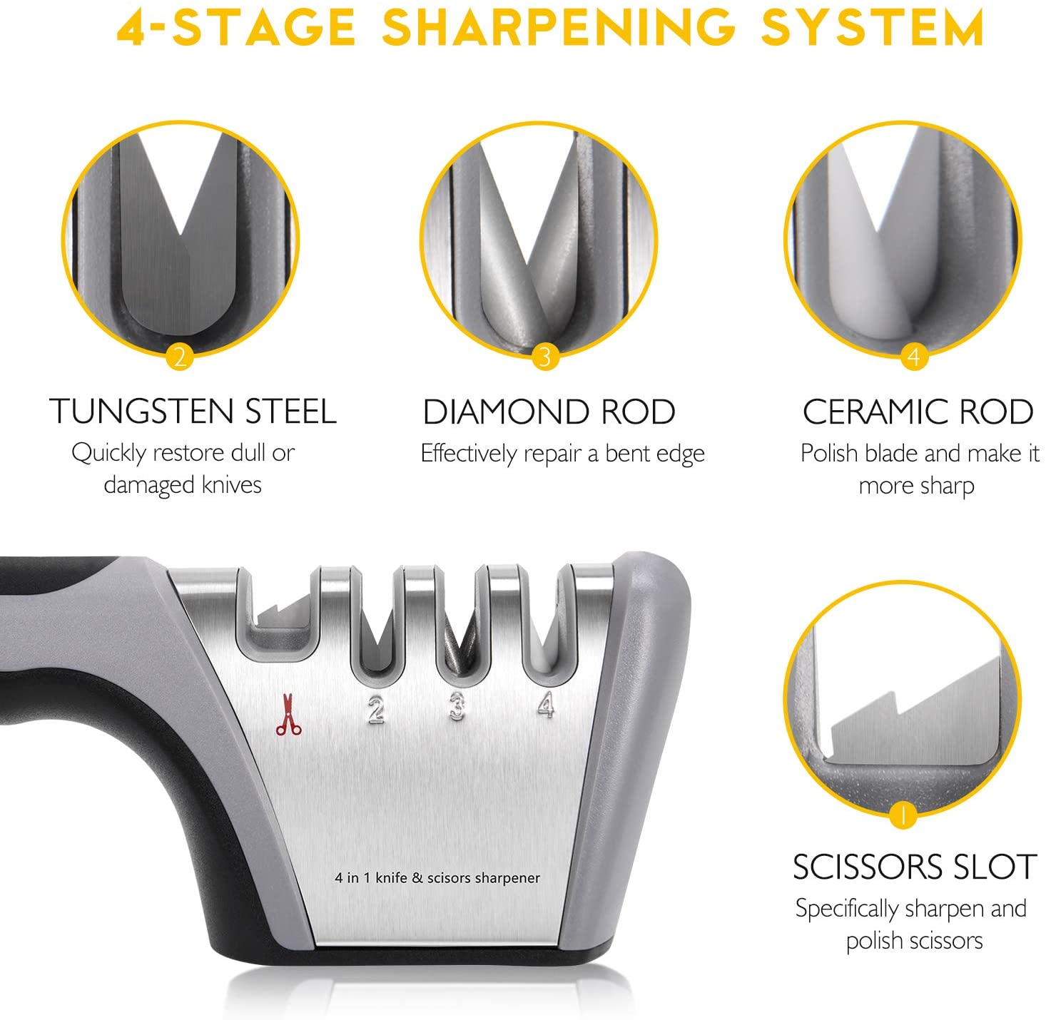 4 In 1Professional Knife Steel Scissor Sharpener