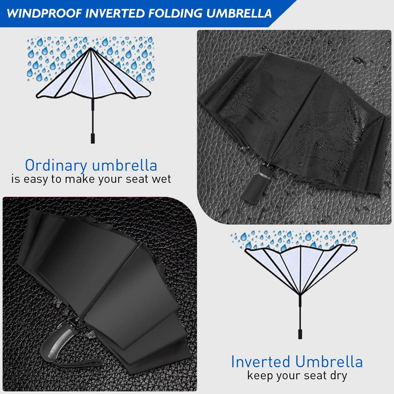 travel umbrella with Reinforced Double Canopy