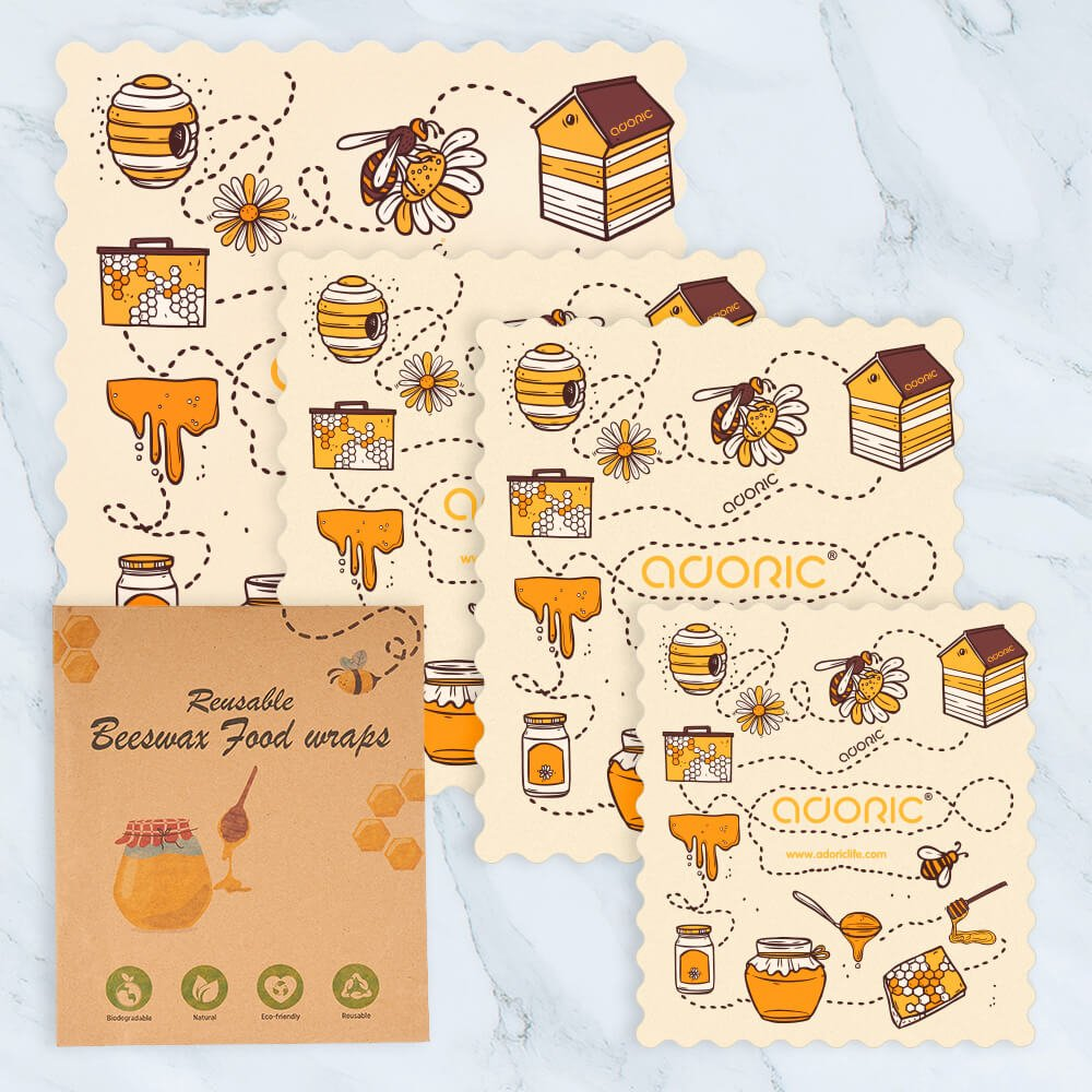 ADORIC Bees Wrap, Reusable Beeswax Food Wrap, 4 Pack